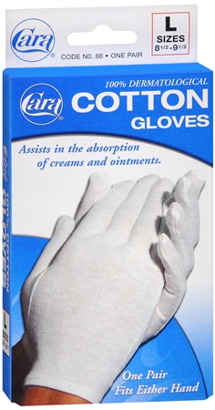 Cara 100% Dermatological Cotton Gloves Large 1 Pair [038056000866]