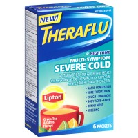 Theraflu Nighttime Multi Symptom Severe Cold, Lipton Green Tea & Citrus Flavors 6 ea [300678124061]