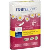 Natracare Organic Cotton Natural Feminine Night Time Maxi Pads, Long 10 ea [782126003041]
