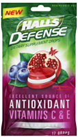 Halls Defense Sugar Free Supplement Drops, Pomegranate Berry 17 ea [312546630185]