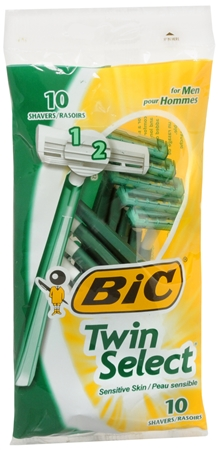 Bic Twin Select Shavers For Men Sensitive Skin 10 Each [070330915718]