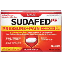 Sudafed PE Pressure + Pain + Mucus Non-Drowsy Caplets For Adults 24 ea [300450580252]
