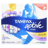 Tampax Pearl Active Plastic Tampons Duopack (Light/Regular) Unscented, 34 ea [073010711389]