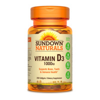 Sundown Naturals High Potency D3 Vitamin D 1000 IU Softgels 200 ea [030768156053]