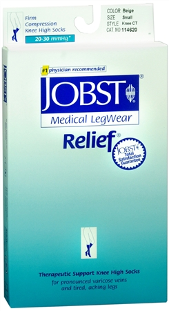 JOBST Medical LegWear Knee High 20-30 mmHg Firm Compression Small Beige Close-Toe 1 Pair [035664146207]
