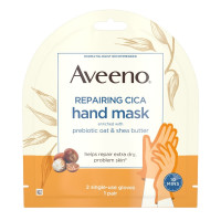 AVEENO Repairing CICA Hand Mask with Prebiotic Oat and Shea Butter for Extra Dry Skin, Paraben-Free and Fragrance-Free 1 Pair [381371181421]