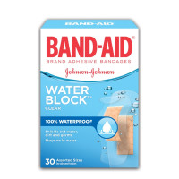 BAND-AID Bandages Water Block Plus Clear Assorted Sizes 30 Each [381370056591]