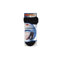 MD USA  Ribbed Cotton Compression Socks with Cushion, Black, Medium, 1 Pair [818286010176]