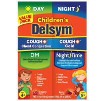 Delsym Children's Cough + Chest Congestion Day & Night Cold Liquid, Cherry & Berry,  8 oz [363824218229]