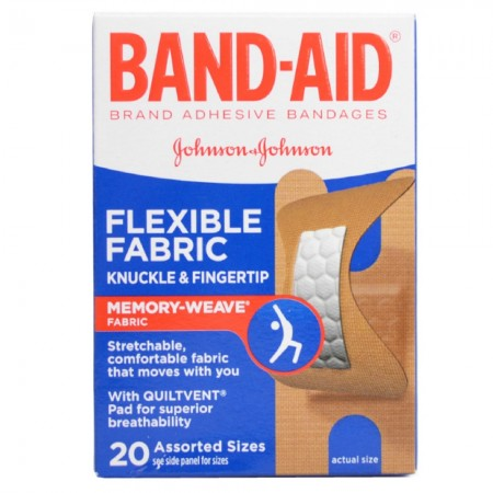 BAND-AID Flexible Fabric Bandages Knuckle & Fingertip 20 Each [381370044529]