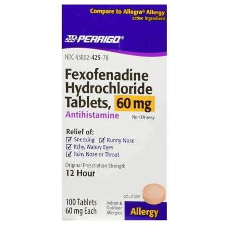 Perrigo Fexofenadine Hydrochloride Allergy Relief Tablets 60 mg 100 ea [345802425782]