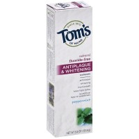 Tom's of Maine Antiplaque & Whitening Fluoride Free Toothpaste, Peppermint 5.50 oz [077326830796]