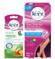 Veet Wax Strip Kit, Legs & Body 40 Ct & Botanic Inspirations Wax Strip Kit, Bikini, Underarm, Face 20 Ct, 1 ea [191897097935]