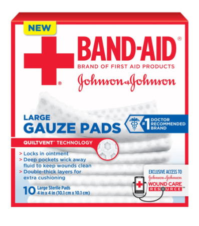 JOHNSON & JOHNSON Red Cross First Aid Gauze Pads 4 Inches X 4 Inches 10 Each [381371161270]