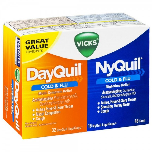 vicks dayquil amp nyquil cold amp flu combo pack liquicaps 48