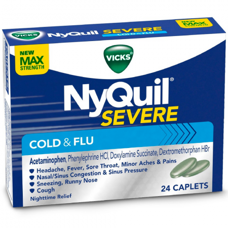 Vicks NyQuil Severe Nighttime Cold & Flu Relief Caplets 24 ea [323900038394]