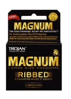 TROJAN Magnum Ribbed Lubricated Latex Condoms 3 ea [022600642084]