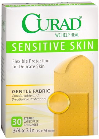 Curad Sensitive Skin Bandages One Size 30 Each [080196302614]