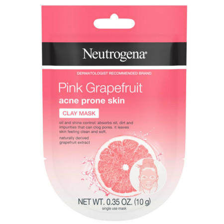 Neutrogena Pink Grapefruit Clay Face Mask Acne Prone Skin Grapefruit Extract, Oil Control & Shine Control, Single-Use 0.35 oz [070501100608]