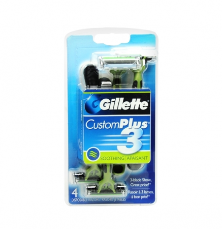 Gillette CustomPlus 3 Disposable Razors, Soothing 4 ea [047400053830]
