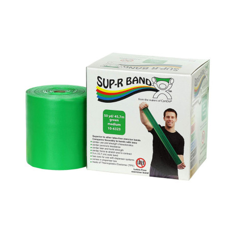 CanDo 10-6323 Sup-R Latex Free Exercise Band, 50 yd Roll, Green-Medium 1 ea  [714905046536]