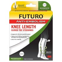 FUTURO Anti-Embolism Knee Length Closed Toe Stockings, White 1 ea [051131201620]