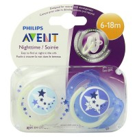 Philips Avent BPA Free Night Time Pacifier, 6-18 Months 2 ea [075020006523]