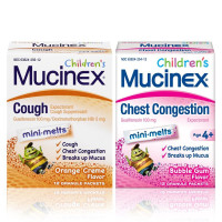 Mucinex Children's Mini Melts Chest Congestion Expectorant Bubble Gum 12 Ct & Cough Suppressant Orange Creme 12 Ct Packets, 1 Ea [191897566943]