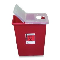 Unimed-Midwest SSHL100980 Red Biohazard Multipurpose Sharps Container with Clear Hinged Lid, 8 gallon model number: UMISSHL100980 - 1 ea  [884521022259]