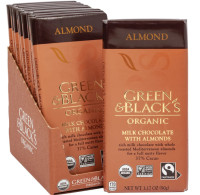 Green & Black's Organic Almond Milk Chocolate Bar, 3.17 oz ea, 37% Cacao 10 ea [708656001524]