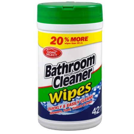 Home Select Bathroom Cleaner Wipes 42 Ea [808829101300]