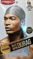 KISS Red Durag Silky Satin Gray Extra Long Tails  1 ea [731509759280]