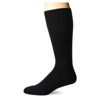 MD USA  Ribbed Cotton Compression Socks with Cushion Soles, Black, Large, 1 ea [818286010183]