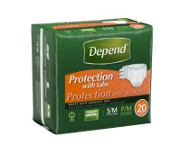 Depend Protection with Tabs Incontinence Underwear, Maximum Absorbency, Small/Medium 20 ea [036000197402]
