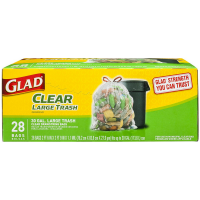 Glad Large Recycling Drawstring Trash Bags, 30 Gallon, Clear 28 ea [012587785454]