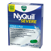 Vicks NyQuil Severe Cold & Flu Nighttime Relief Liquicaps, 24 ea [323900039520]