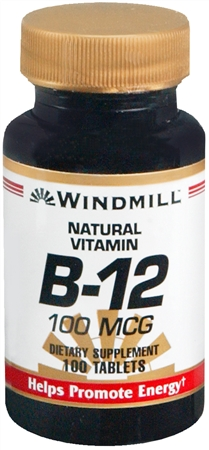 Windmill Vitamin B-12 100 mcg Tablets 100 Tablets [035046001278]