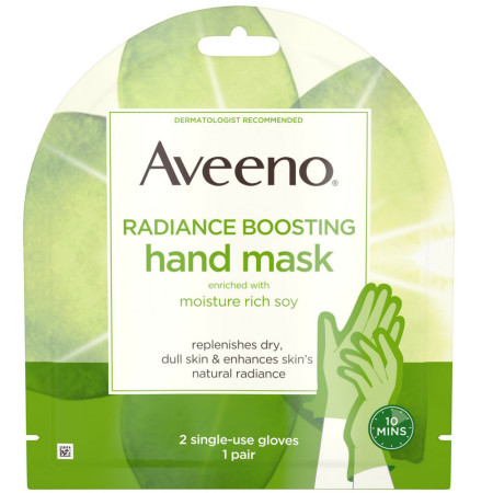 Aveeno Radiance Mask with Moisture Rich Soy, Moisturizing Hand Gloves to Replenish Dry Dull Skin, Paraben-Free, 2 Single-Use Gloves 1 ea [381371181445]