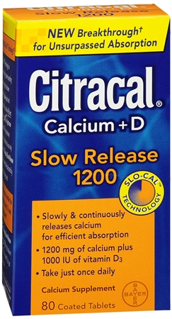 Citracal Calcium + D Slow Release 1200 Tablets 80 Tablets [016500540991]