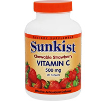 Sunkist Vitamin C 500 mg Chewable Tablets, Strawberry 90 ea [625273095449]