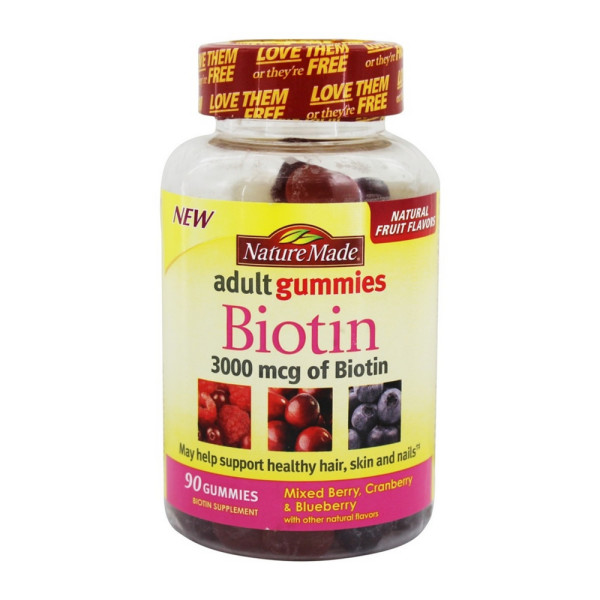 Nature Made Biotin Adult 3000 Mcg Gummies Mixed Berry Cranberry Blueberry 90 Ea