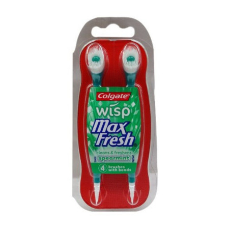 Colgate Wisp Mini-brush With Freshening Bead Spearmint 4 Each [035000689115]