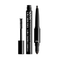 NYX Professional Makeup 3-In-1 Brow Pencil in Charcoal, 0.135 oz [800897078928]
