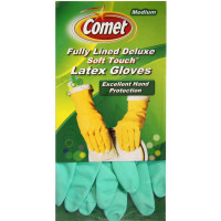 Comet Fully Lined Deluxe Soft Touch Latex Gloves, Medium  2 ea [071582001839]