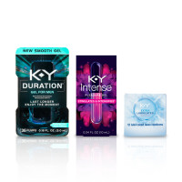 K-Y Pleasure Pack Latex Condoms (12cnt), Duration Male Genital Desensitizer Gel .16 oz / 36 pumps , Pleasure Gel Lubricant .34oz 1 ea [191897859311]
