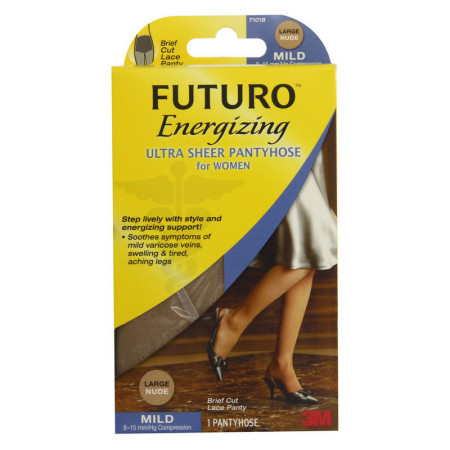 FUTURO Energizing Ultra Sheer Pantyhose For Women Brief Cut Lace Panty Mild Large Nude 1 Pair [051131201279]