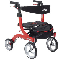 Drive Medical RTL10266-H Nitro Euro Style Walker Rollator, Petite, Red 1 ea [822383523927]
