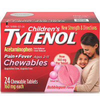 TYLENOL Children's Pain+Fever Chewables Tablets, Bubblegum 24 ea [300450519245]
