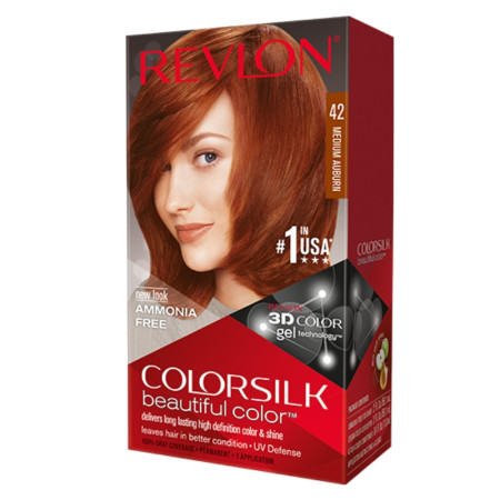 Revlon ColorSilk Hair Color, 42 Medium Auburn 1 ea [309978695424]