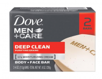 Dove Men+Care Body & Face Bar, Deep Clean 4.25 oz bars, 2 ea [011111012165]